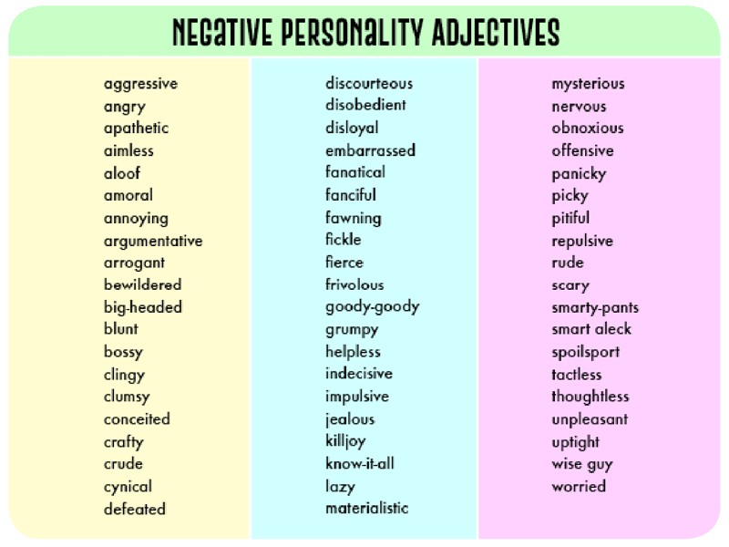 negative personality adjectives