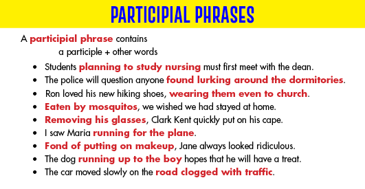 Grammar clauses participle phrases youtube.